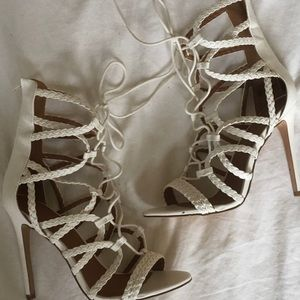 Shoes - White lace up heels *never worn*
